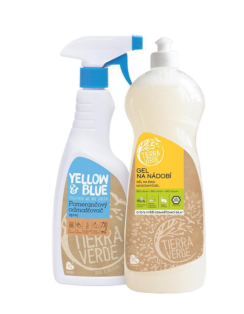 Použití produktu Multipack Gel na nádobí BIO citron 1 l + Pomerančový odmašťovač sprej 750 ml